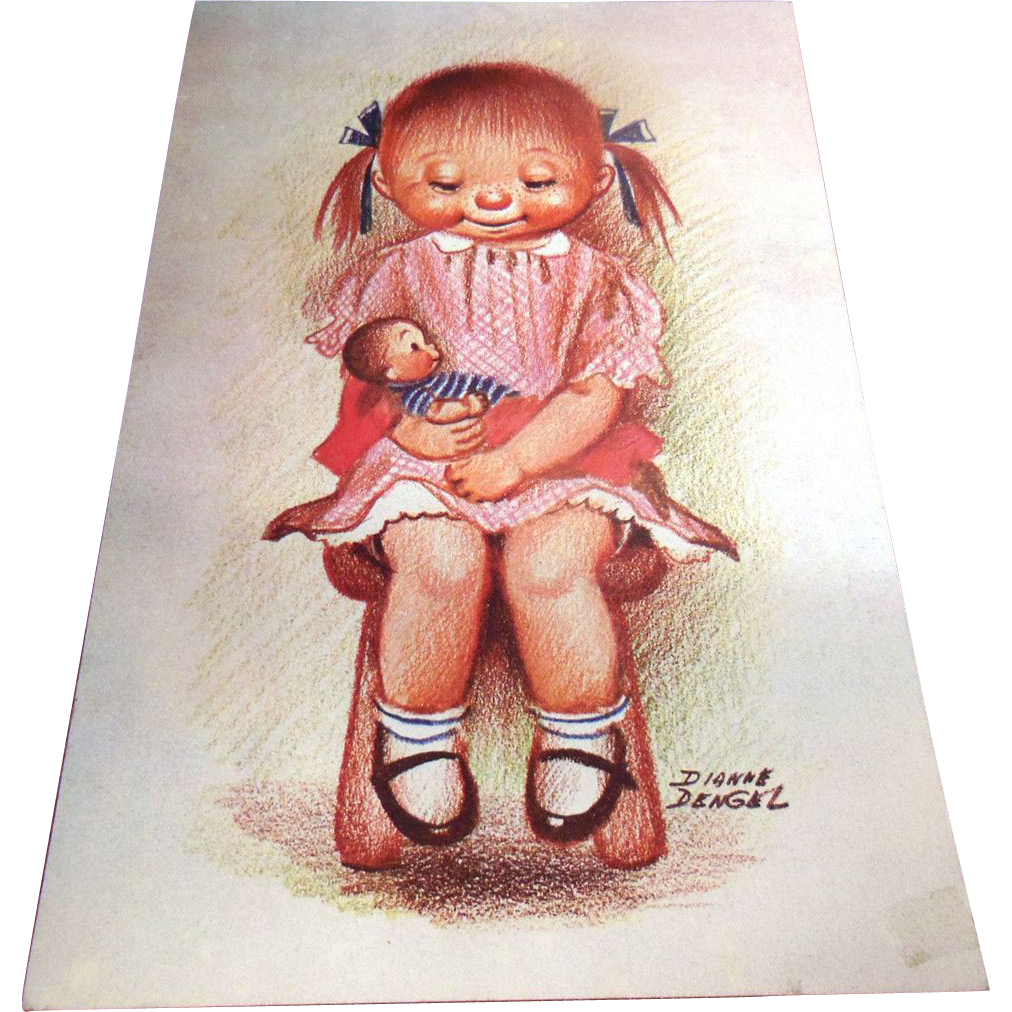 Vintage Diane Dengel Print Red Haired Girl in Pink Dress with Doll
