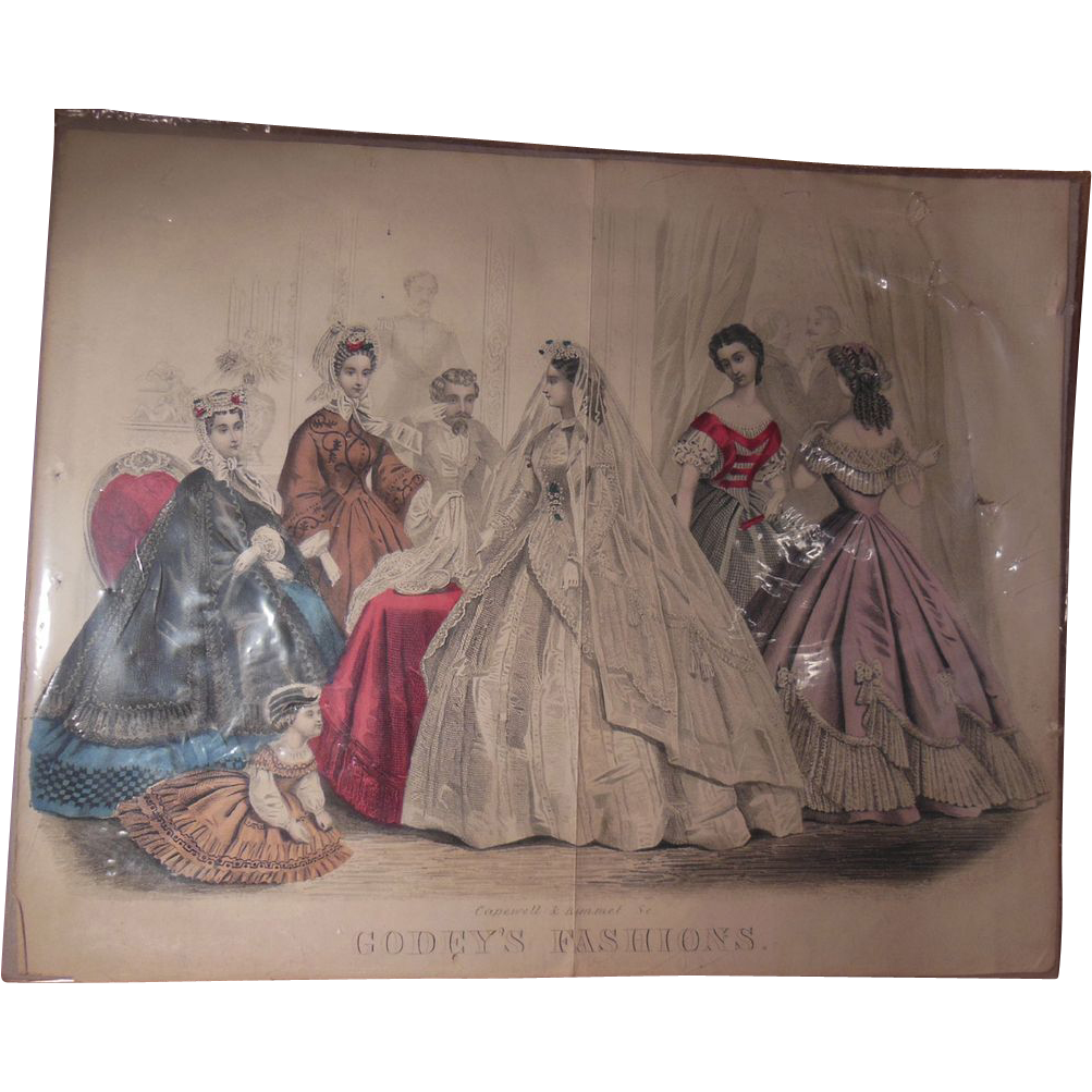 Godey's 19th Century American Civil War Era Wedding Fashion Print