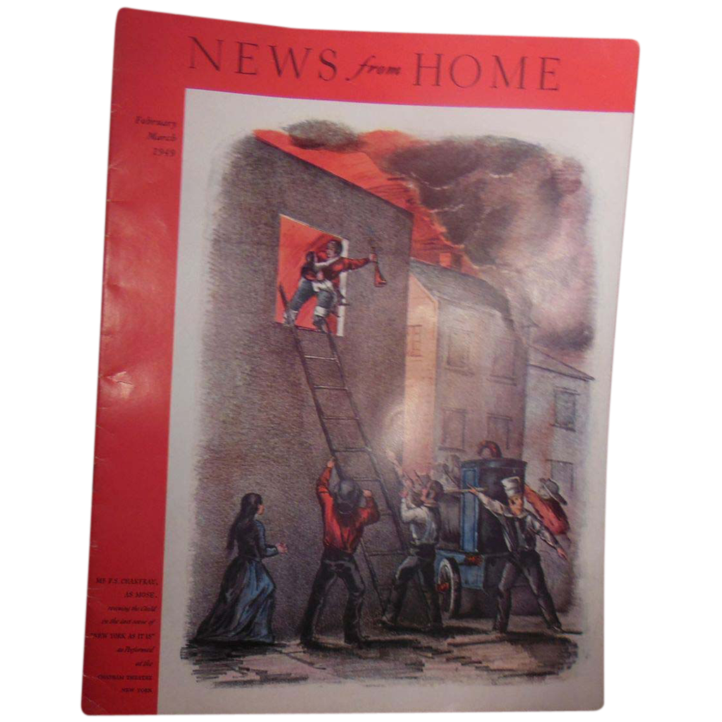 Magazine – News from Home March 1949 Cover Early Fire Fighters Rescuing Child from Burning Building
