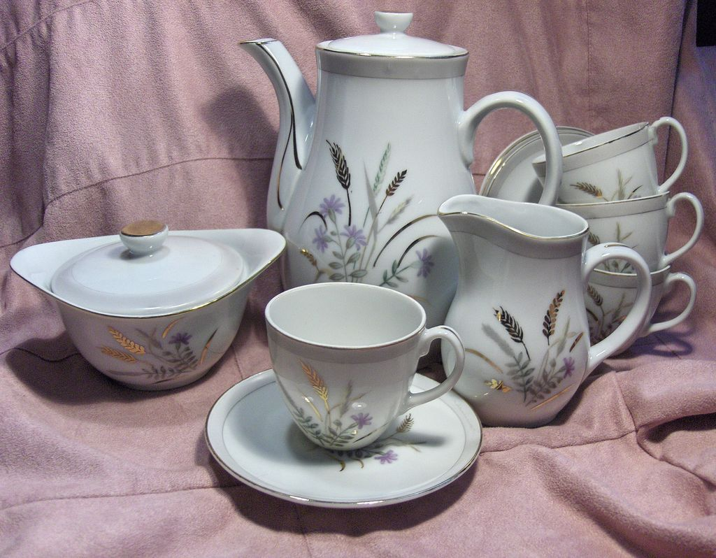 Yamaka Gold Wheat and Purple Wildflower Japanese Demitasse Coffee Set