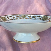 Nippon Red Mark Hand Painted Floral and Raised Gold Gilding Compote or Pedestal Bowl