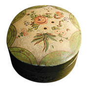 Vintage Lacquered Oval Shaped Floral Paper Maché Embroidery or Trinket Box