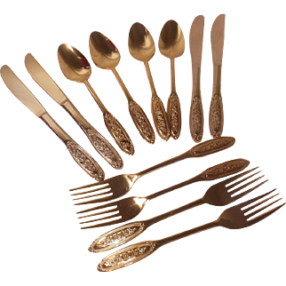 50 Piece Set Towle Supreme Cutlery Beaded Rose 24 Karat Gold Electroplate