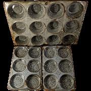 Three Old Gray Graniteware or Enamelware Muffin Pans or Tins