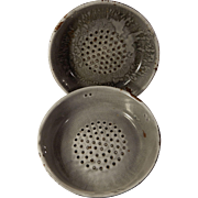 Two Old Gray Graniteware or Enamelware Strainers or Colanders