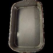 Old Gray Mottled Graniteware Enamelware Baking or Roasting Pan