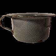 Old Gray Mottled Graniteware Enamelware Chamber Pot