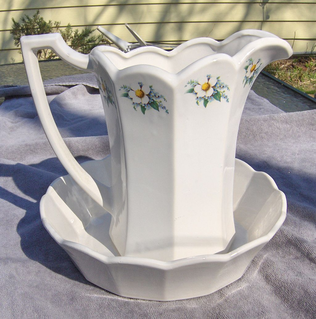 Lovely McCoy White and Floral Pitcher and Bowl Set