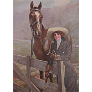 W. Haskell Coffin Calendar Print Prize Winners Young Woman and Horse 1917 Lewis S. Fell Hardware