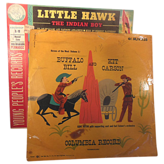 Two Vintage 78 RPM Vinyl Children's Records Little Hawk and  Buffalo Bill and Kit Carson