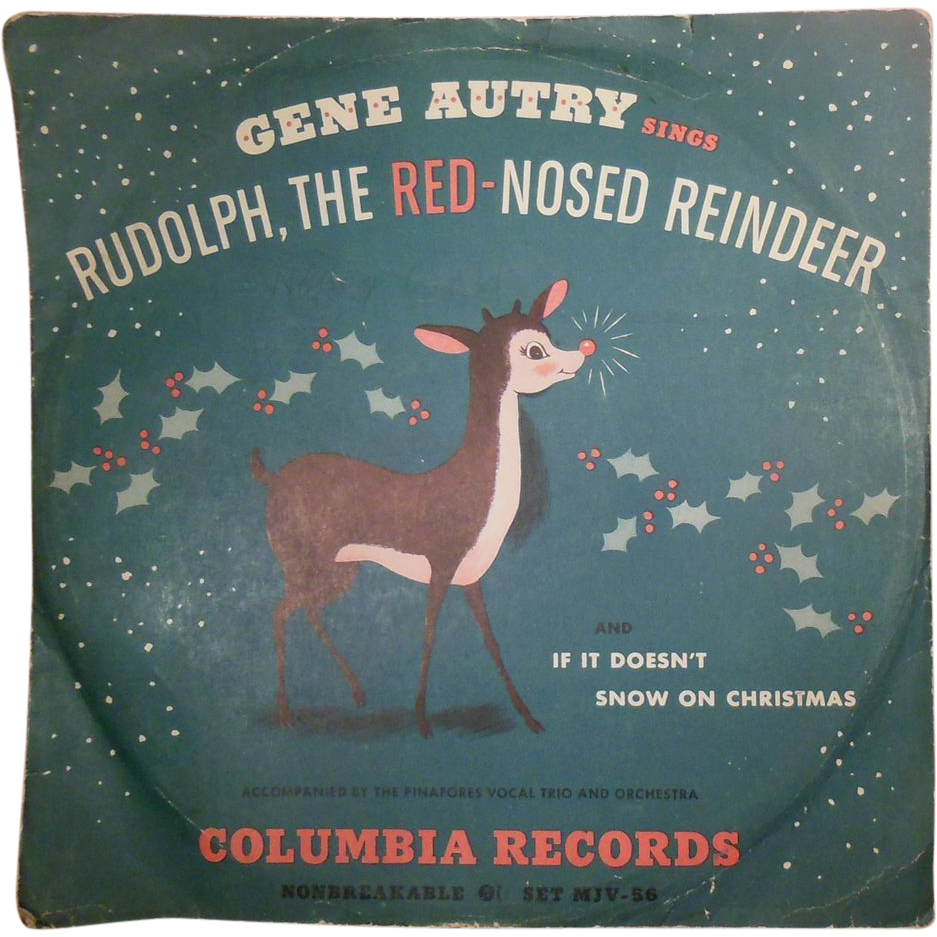 Vintage 1949 78 RPM Vinyl Children's Record Rudolph the Red-Nosed Reindeer Sung by Gene Autry