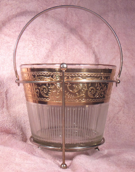 Mid 20th Century Starlyte Gold Encrusted and Clear Glass Ice Bucket