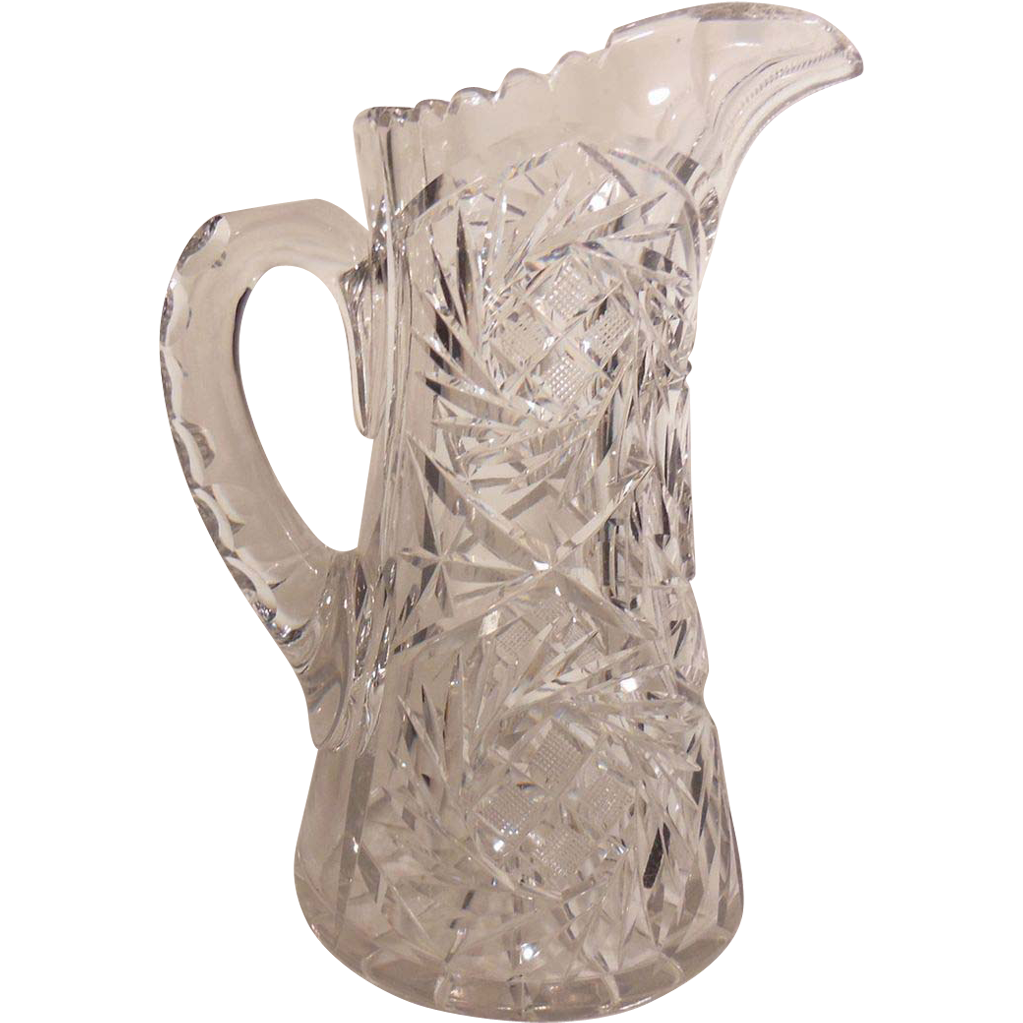 Tall Pressed Clear Glass Water Pitcher Diamond And Leaf
