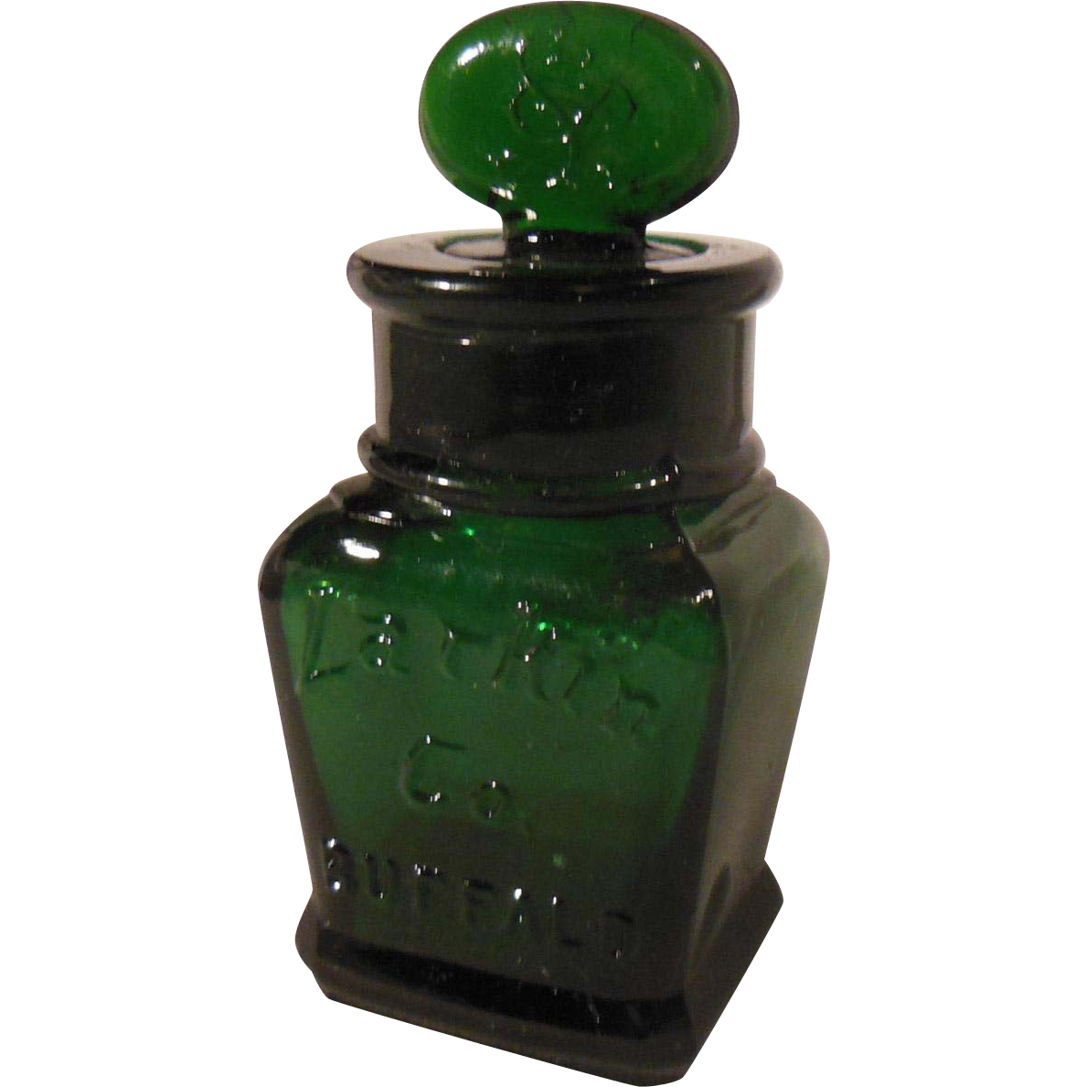 early small dark green larkin soap company bottle with stopper from pennycandyantiques on ruby lane