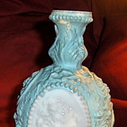 Victorian Jenny Lind Milk Glass Decanter or Cologne Bottle