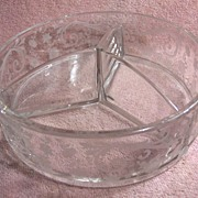 Cambridge Glass Company Chantilly 3 Part Divided Candy