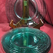Set of 5 Green Glass Ringed Plates
