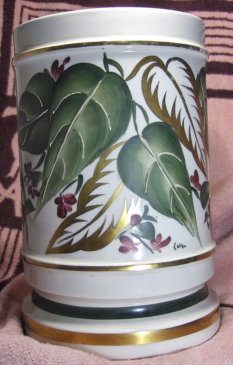 Unusual Hand Painted Porcelain Half Shade Accent Lamp Green and Gold Leaves with Purple Flowers