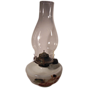 White Milk Glass Hand Painted Oil Lamp Eagle Burner