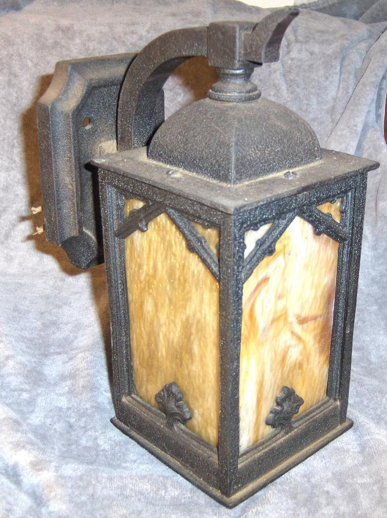 Arts and Crafts Period Caramel Slag Glass and Metal Porch Light