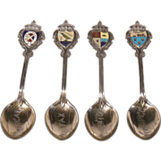 Set of Four Antique Canadian Sterling Silver and Enamel Souvenir Spoons