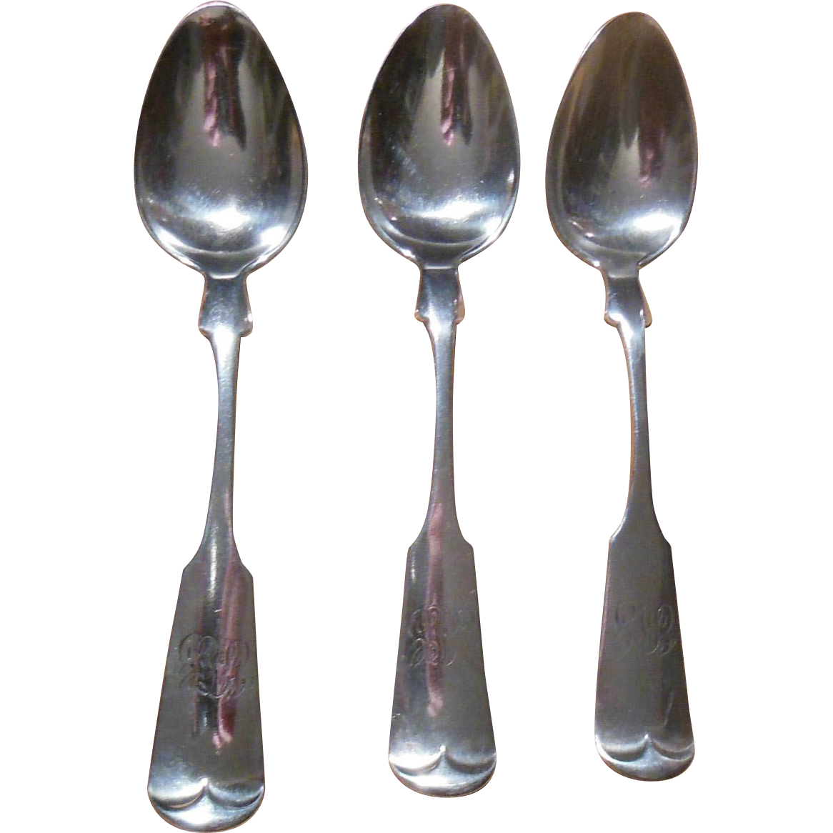 Set of Three Sterling Teaspoons Circa 1832 by Gorham Tipt Pattern