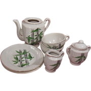 7 Piece Grantcrest Porcelain Children's Tea Set Bamboo Pattern