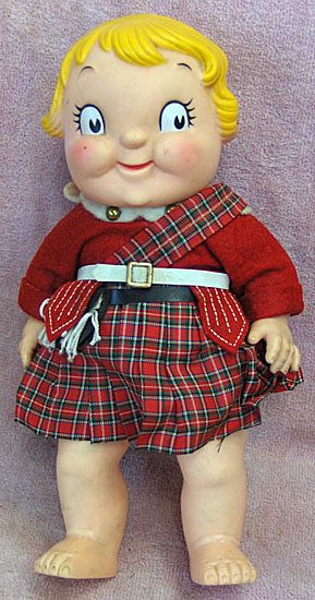 Campbell's Soup Vinyl Girl Doll Molded Hair Red Plaid Scottish Kilt