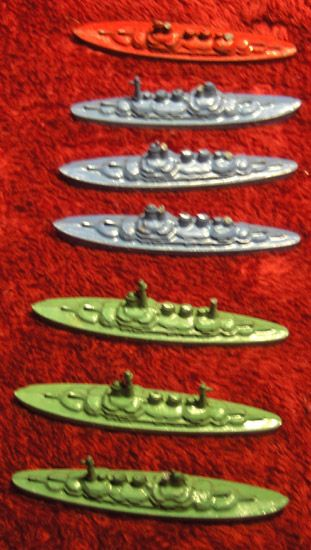 Seven Miniature Metal Tootsie Toy Battle Ships