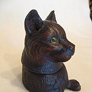 Black Forest Wood Carved Cat Inkwell, c1890