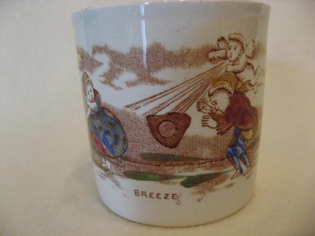 "Children's Pottery Staffordshire  Mug -  Children Playing in the ""Breeze"""