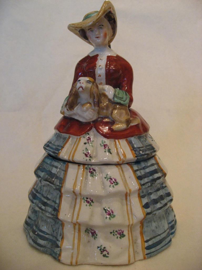 Staffordshire Lady with Dog - Ceramic Box, c1910/20's
