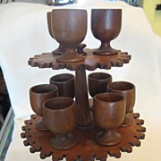 Treen Egg Cup Holder / Egg Stand with Carved Boots / Victorian