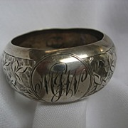 Engraved English Silver Napkin Ring dated 1910