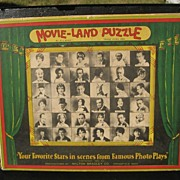 """Movie-Land Puzzle"" Milton Bradley Co. 1926 - Jig Saw Puzzle with Our Gang Comedy"