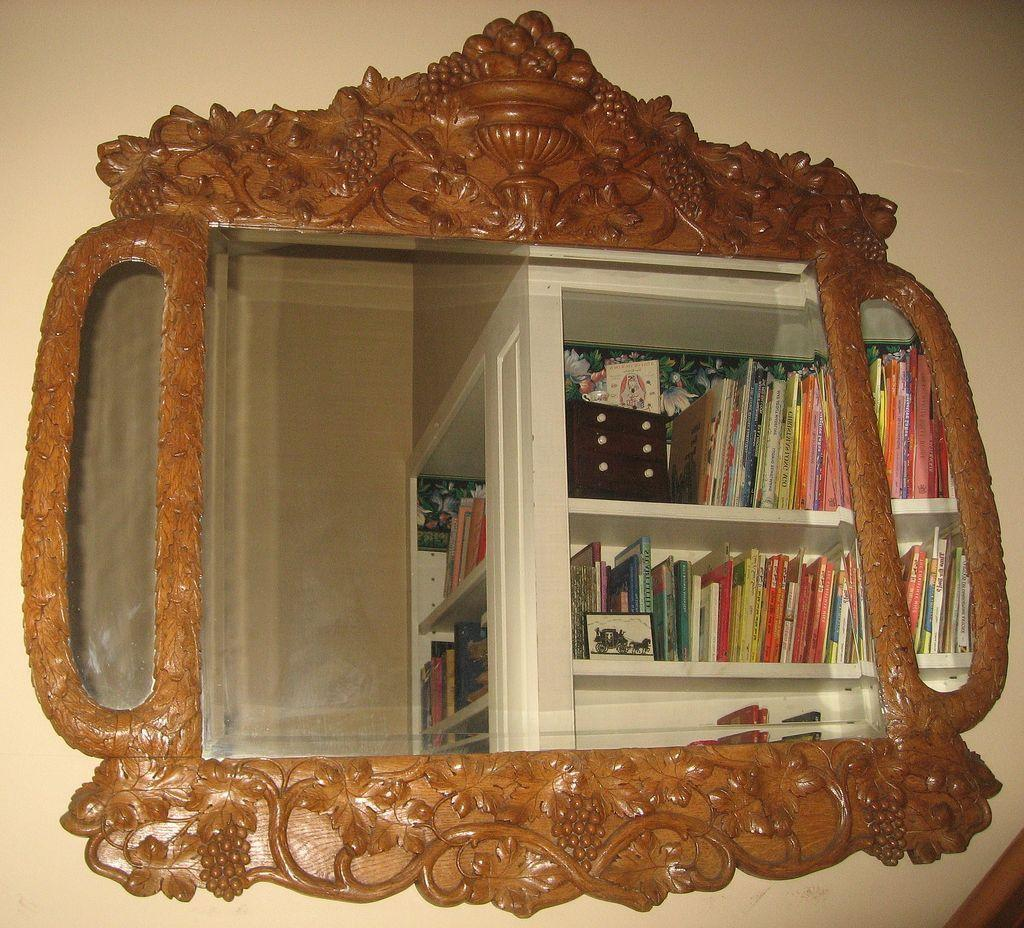 Spectacular Large Carved Fruitwood Antique Mirror
