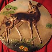 Rare Early Bambi Plaque Made for Disney by Leonardi - 1940's