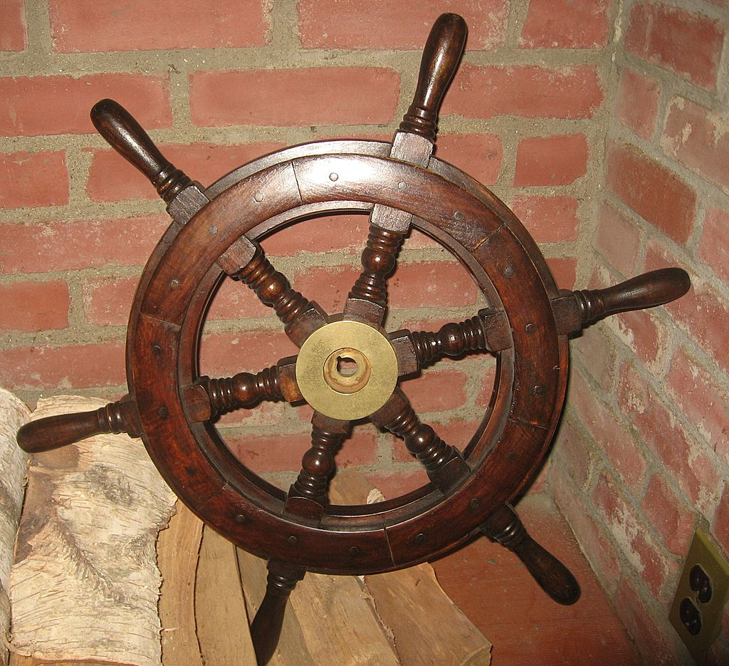 An Original Wood and Brass Ship's Wheel