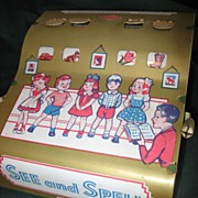 "Wolverine Tin Toy ""See and Spell"" Game, c1950's"