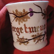 """Early Small Ceramic Cup - Love Token - """"Forget Me Not"""""""