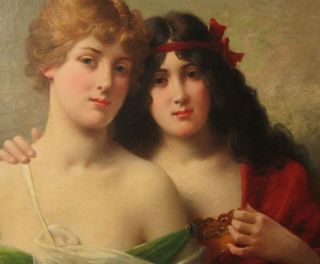 "Oil on Canvas ""Blonde and Brunette"" by J. Ballavoine has  Note from Artist"