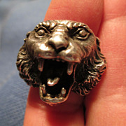 Large Lion Head Silver Ring Italian 1960's