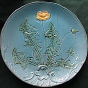 "9 1/4"" Majolica Dandelion Plate, Zell Factories, Germany c.1910"