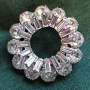Signed Weiss Rhinestone Circle Pin  / Brooch - Mid Century