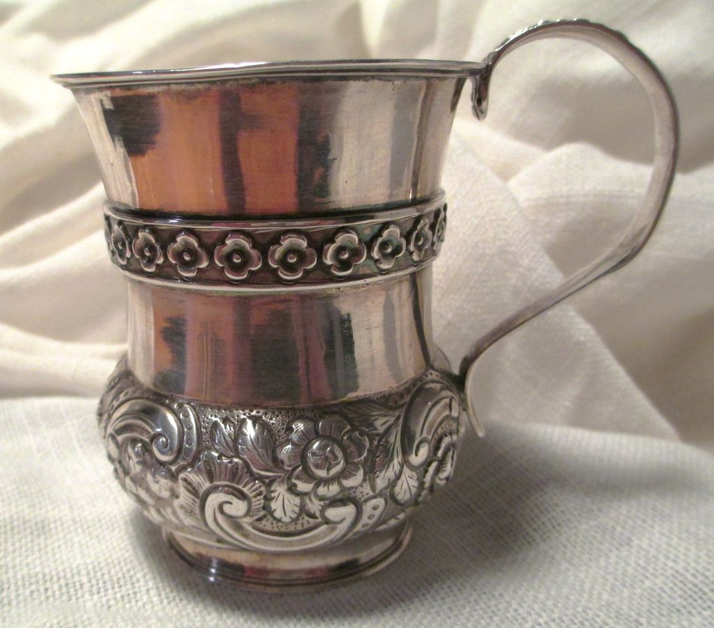 Antique English Sterling Silver Christening Mug Dated 1821