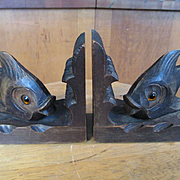 Unusual Black Forest Carved Wooden Fish Bookends