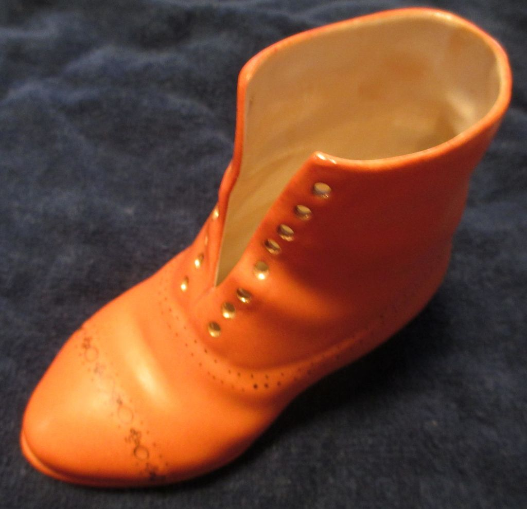 Royal Bayreuth Men's High Top Miniature Boot / Shoe Porcelain - circa 1890