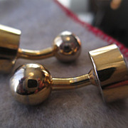 Heavy Gold Plate Metal Dumbbell Cufflinks