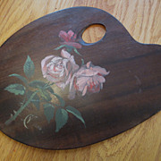Floral Oil Painting on an  Artist's Pallet Dated 1885