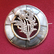 Victorian Scotch Agate Brooch / Pin - Grey Agate & Sterling / Thistle